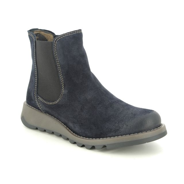 Fly London Salv P143195-047 Navy Suede Chelsea Boots