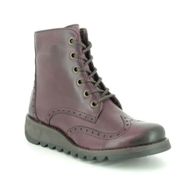Fly London Ankle Boots - Purple Leather - P144069 SARL