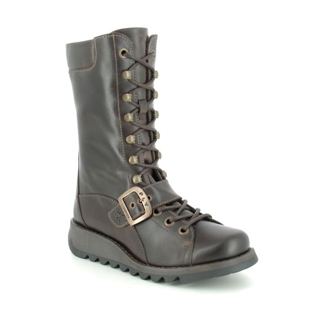 Fly London Knee-high Boots - Brown leather - P144526 SELU