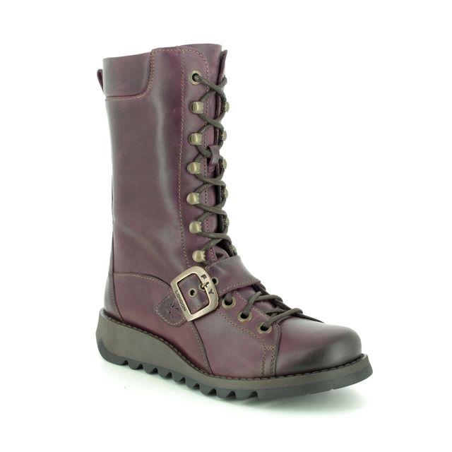 Fly London Selu P144526-002 Purple Leather knee-high boots