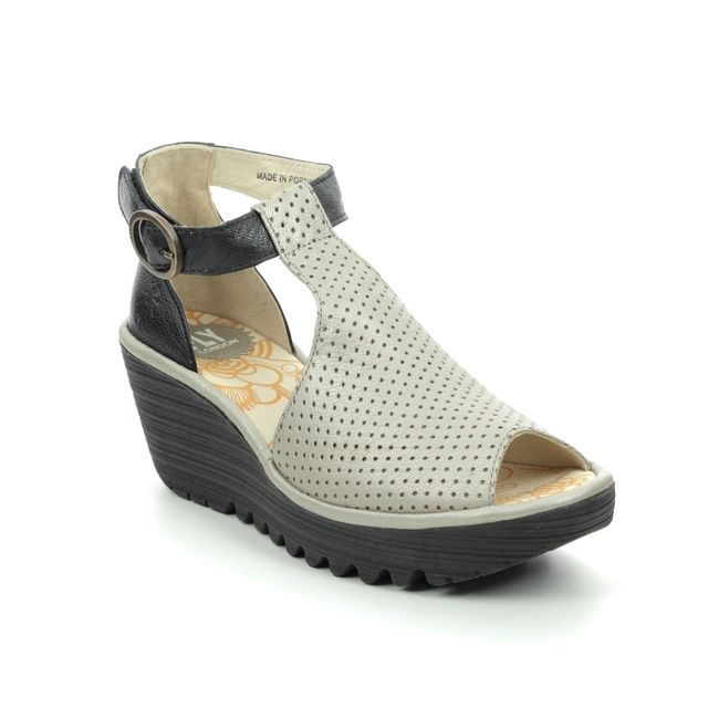 Fly London Yall P500962-003 Black-Silver Wedge Sandals