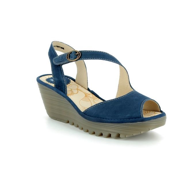Fly London Wedge Sandals - Blue - P500836 YAMP 836
