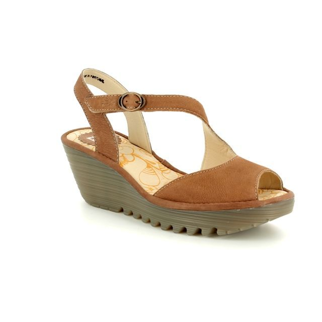 Fly London Wedge Sandals - Tan - P500836 YAMP 836