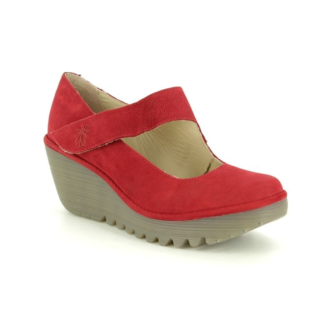 e5599214a490 Fly London Yasi P500682-040 Red leather Wedge Shoes