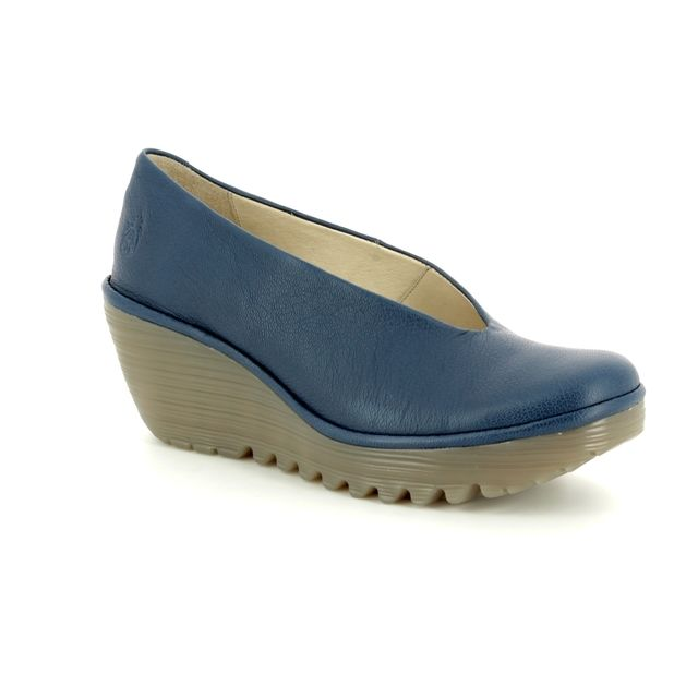 Fly London Wedge Shoes - Navy - P500025 YAZ