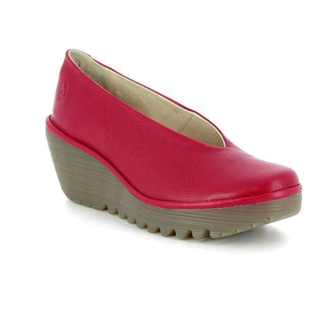 Fly London Wedge Shoes - Red - P500025 YAZ