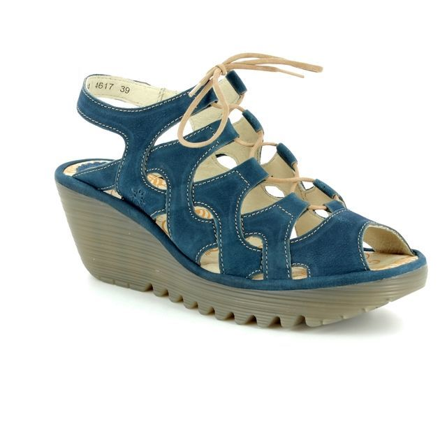 Fly London Wedge Sandals - Navy - P500916 YEXA 835