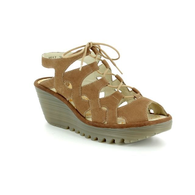 Fly London Wedge Sandals - Taupe - P500916 YEXA 835