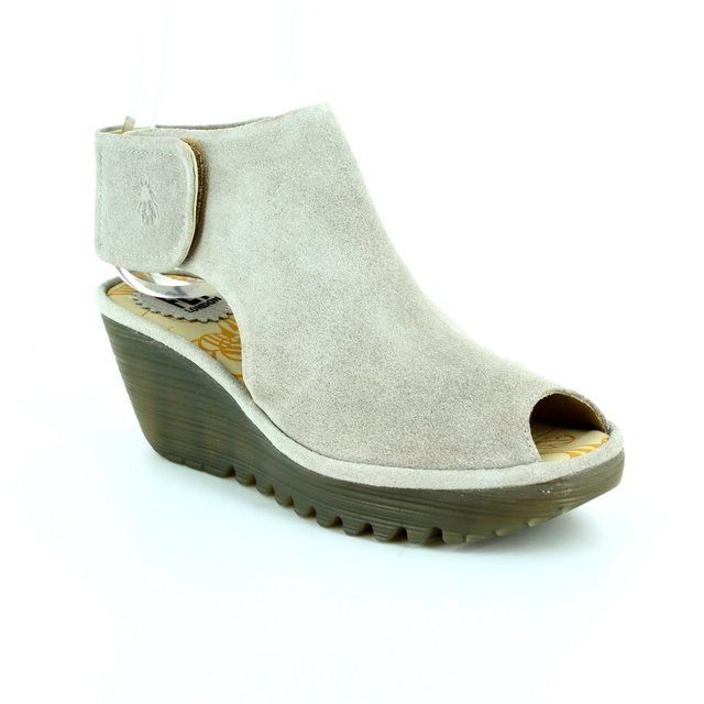 Fly London Wedge Sandals - Light Grey - P500642 YONA