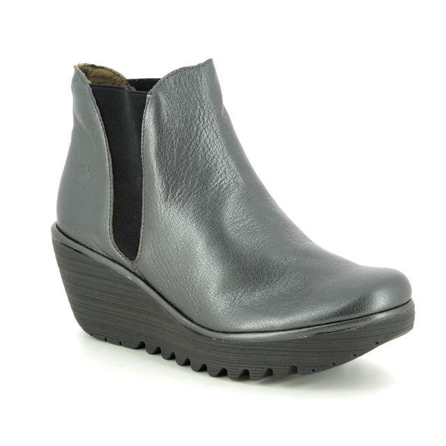 Fly London Wedge Boots - Metallic Leather - P500431 YOSS