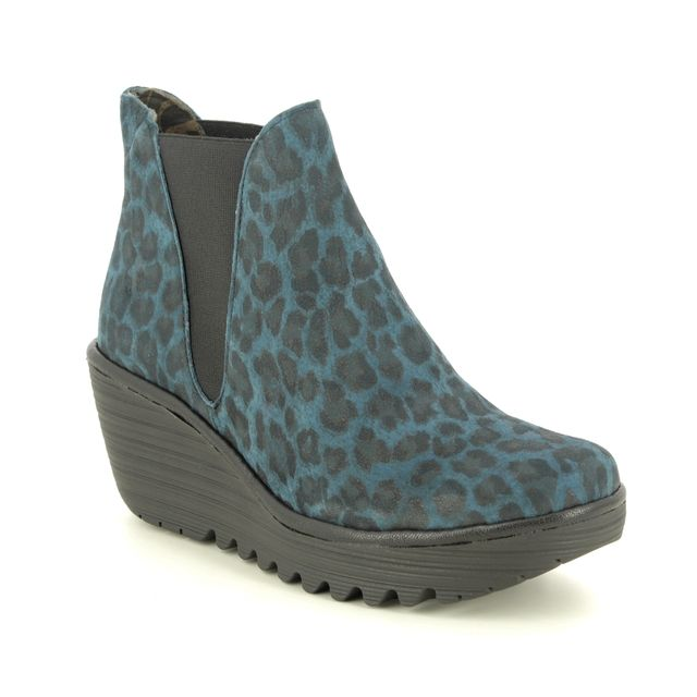 Fly London Yoss P500431-069 Navy Suede Wedge boots