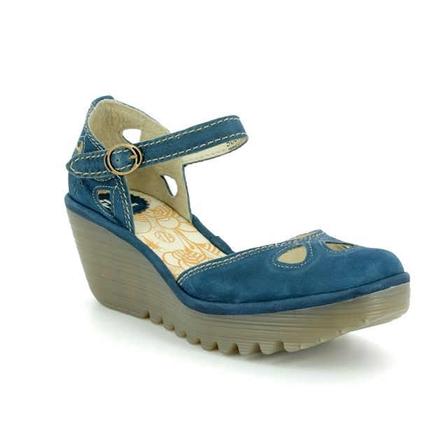 Fly London Wedge Shoes - Blue - P500016 YUNA