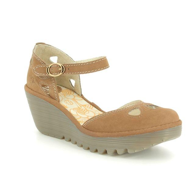 Fly London Wedge Shoes - Tan - P500016 YUNA