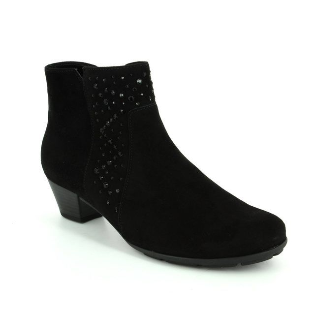 Gabor Ankle Boots - Black suede - 75.630.17 BRADY