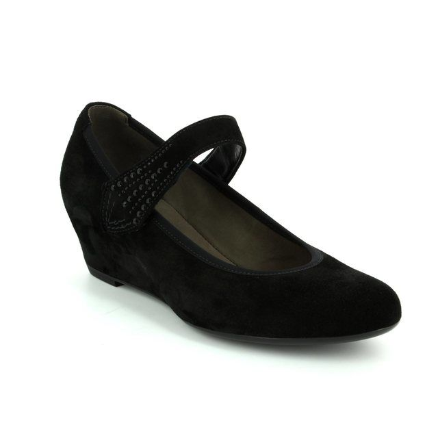Gabor Cecile 75.361.17 Black suede Wedge Shoes