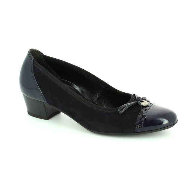 Gabor Islay 62.203.26 Navy patent-suede heeled shoes