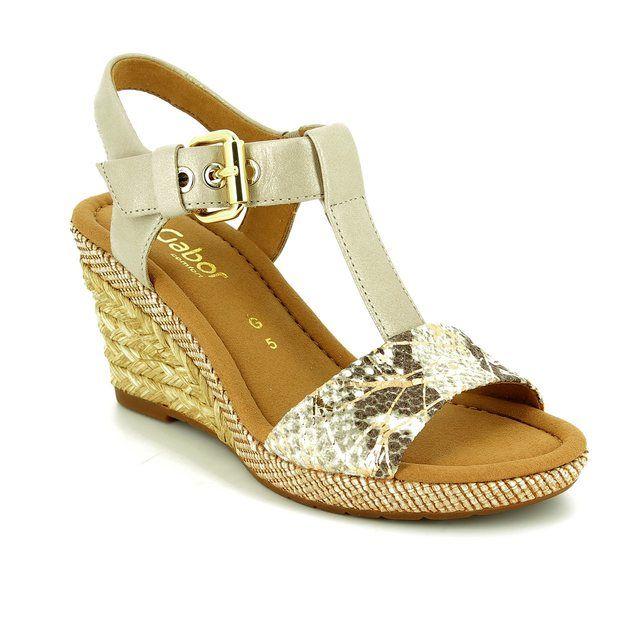 Gabor Wedge Sandals - Beige multi - 62.824.21 KAREN