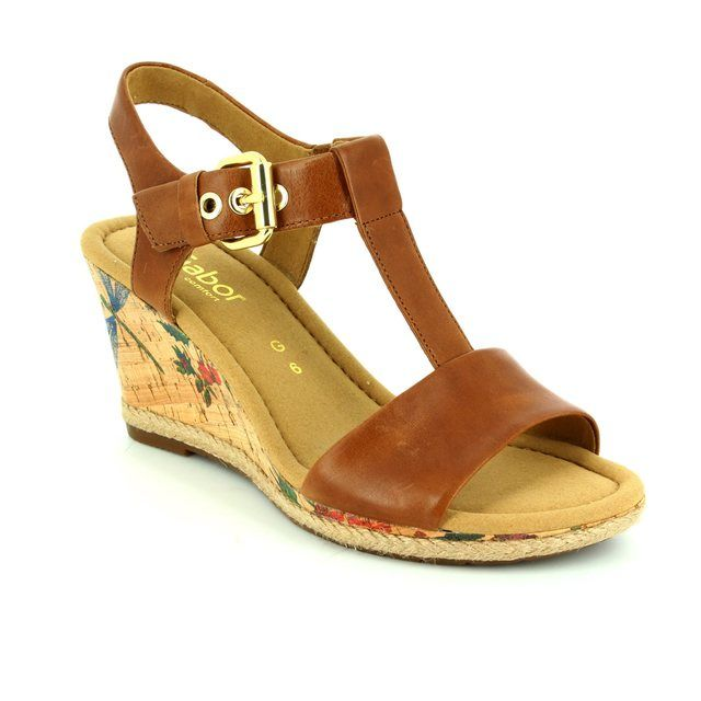 Gabor Karen 62.824.55 Tan waxy Wedge Sandals