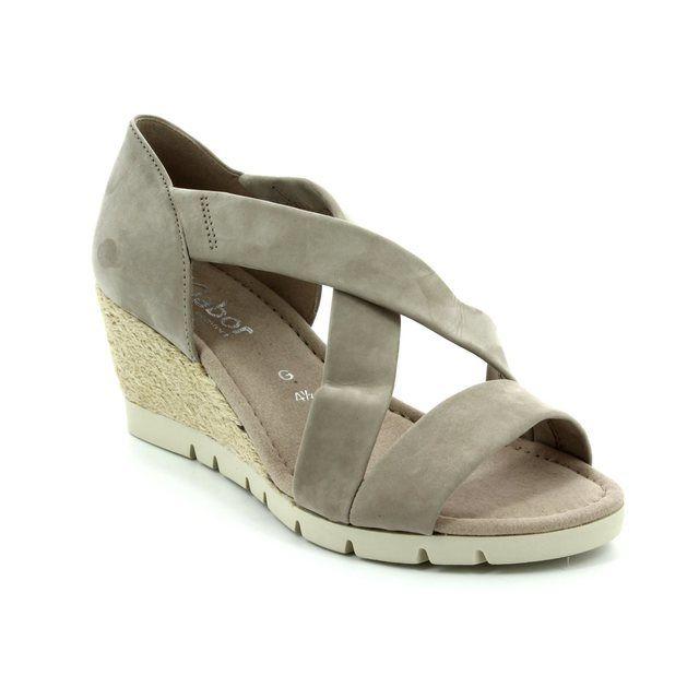 Gabor Lisette 62.853.43 Light Taupe nubuck Wedge Sandals