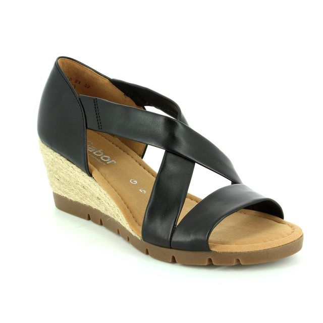 Gabor Lisette 62.853.58 Black Wedge Sandals