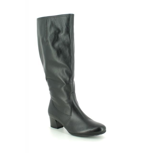 Gabor Knee-high Boots - Black leather - 32.848.57 MADRID WIDE LEG