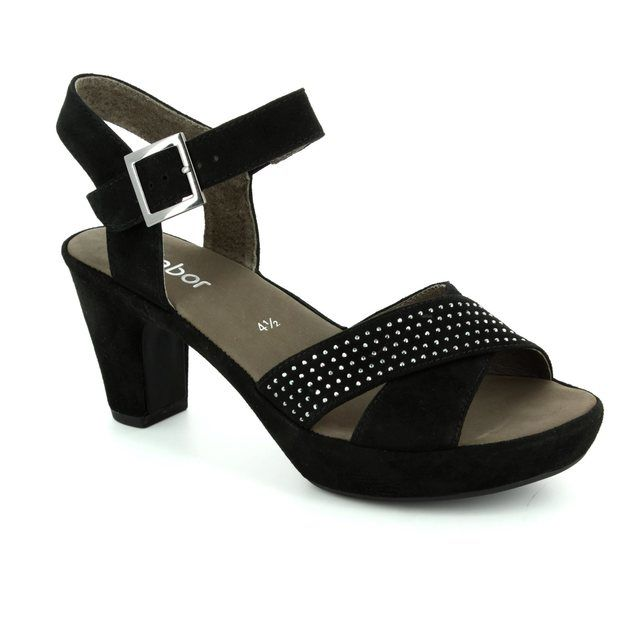 Gabor Heeled Sandals - Black suede - 65.752.17 RANSOM