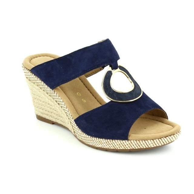 Gabor Wedge Sandals - Navy suede - 42.821.16 SIZZLE