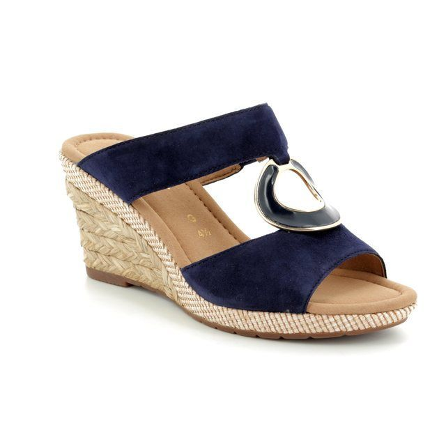 Gabor Wedge Sandals - Navy suede - 82.825.46 SIZZLE 81