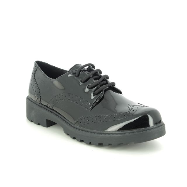 Geox Everyday Shoes - Black patent - J6420N/C9999 CASEY LACE