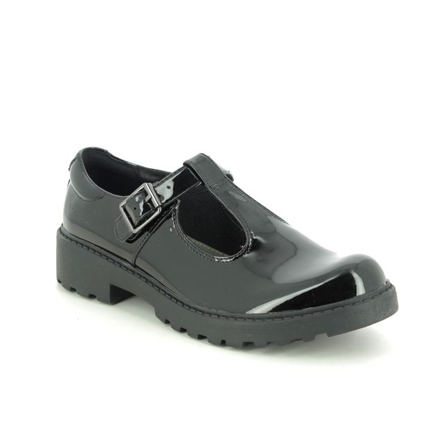 Geox Everyday Shoes - Black patent - J8420E/C9999 CASEY T BAR