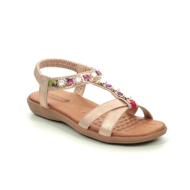 Heavenly Feet Amber 9130-27 Rose Flat Sandals