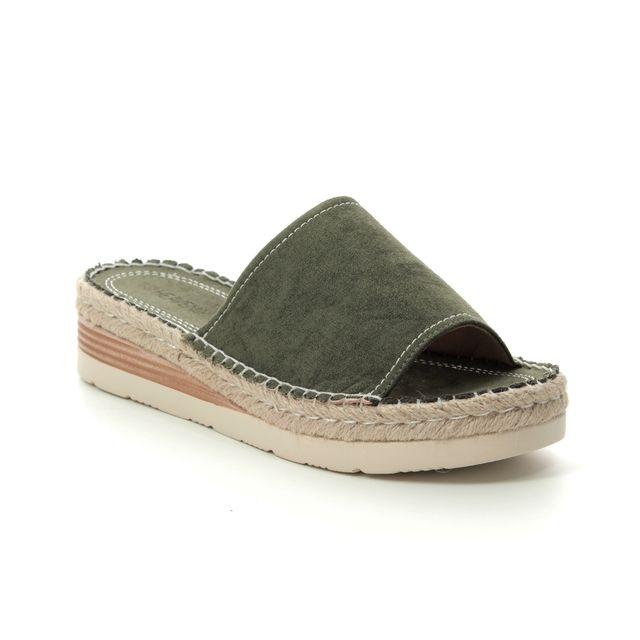Heavenly Feet Bella 9112-90 Olive Green Slide Sandals