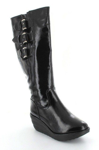 Heavenly Feet Blizzard 3006-30 Black patent knee-high boots
