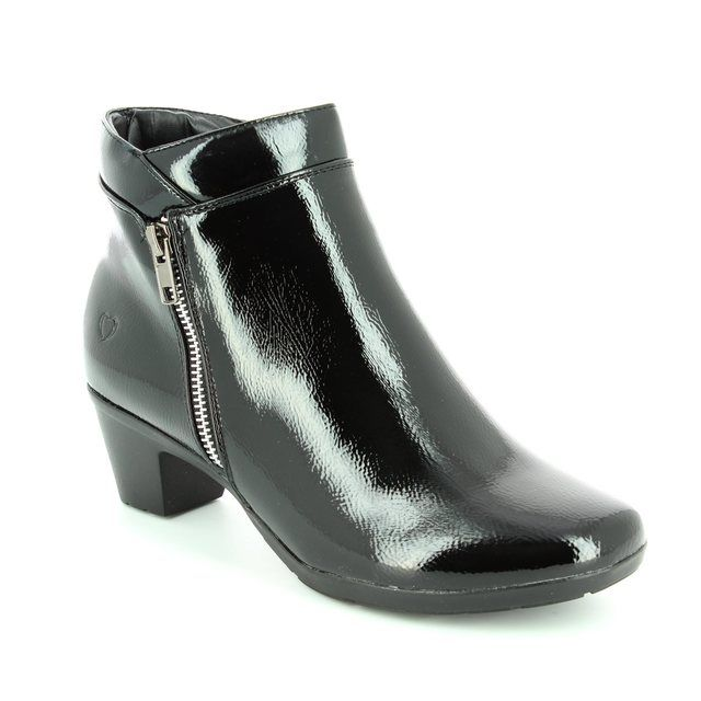 Heavenly Feet Ankle Boots - Black patent - 6002/30 DRAPE
