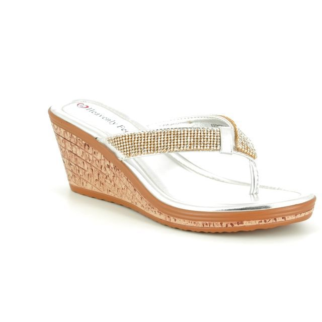 Heavenly Feet Wedge Sandals - Silver - 8126/01 ESTHER 2