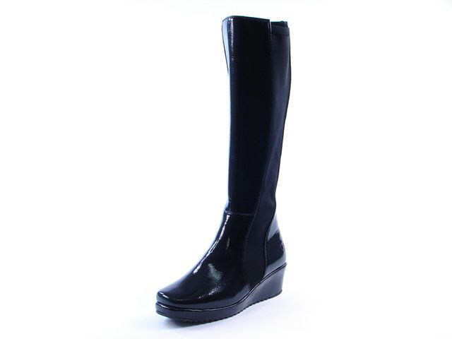 Heavenly Feet Eternity 1009-30 Black patent knee-high boots
