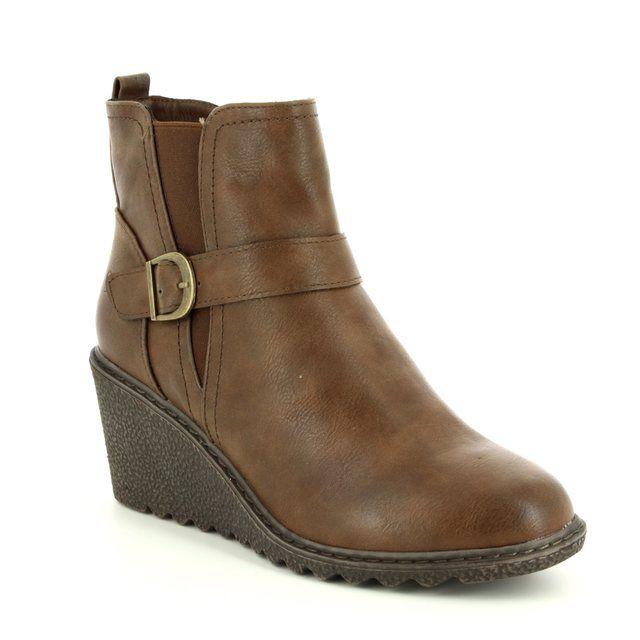 Heavenly Feet Wedge Boots - Tan - 6003/10 FLEUR