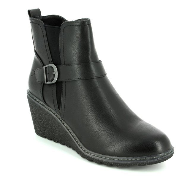 Heavenly Feet Fleur 6003-30 Black Wedge boots