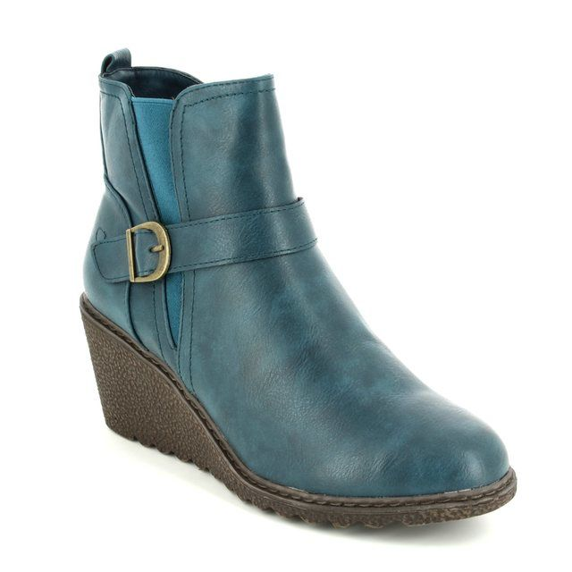 Heavenly Feet Fleur 6003-70 Teal blue Wedge boots