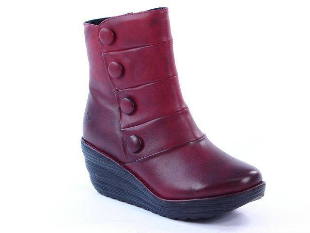 Heavenly Feet Glacier 1002-60 Red patent ankle boots