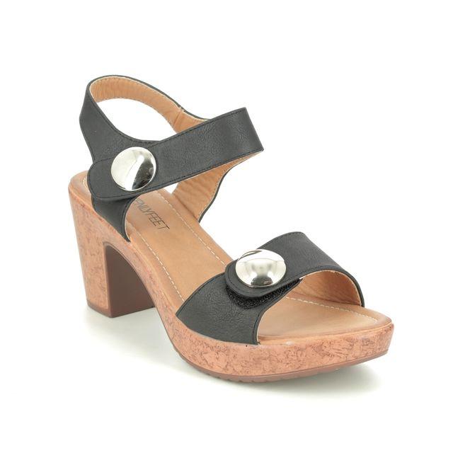 Heavenly Feet Heeled Sandals - Black - 9123/30 SADIE