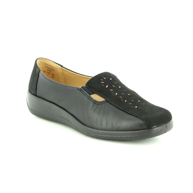 Hotter Comfort Shoes - Black leather - 8501/30 CALYPSO NEW E