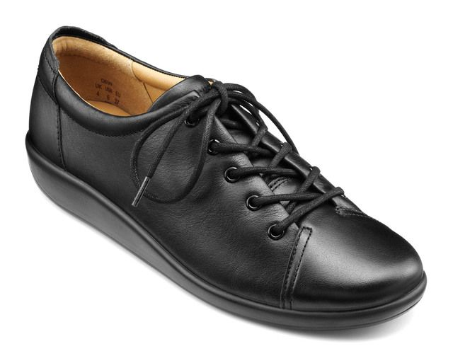 Hotter Lacing Shoes - Black leather - 8509/30 DEW    NEW EE
