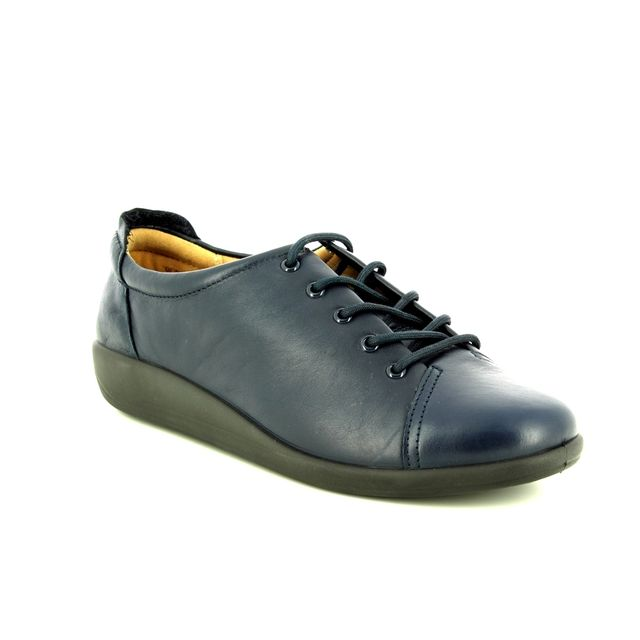 Hotter Lacing Shoes - Navy leather - 8509/70 DEW    NEW EE