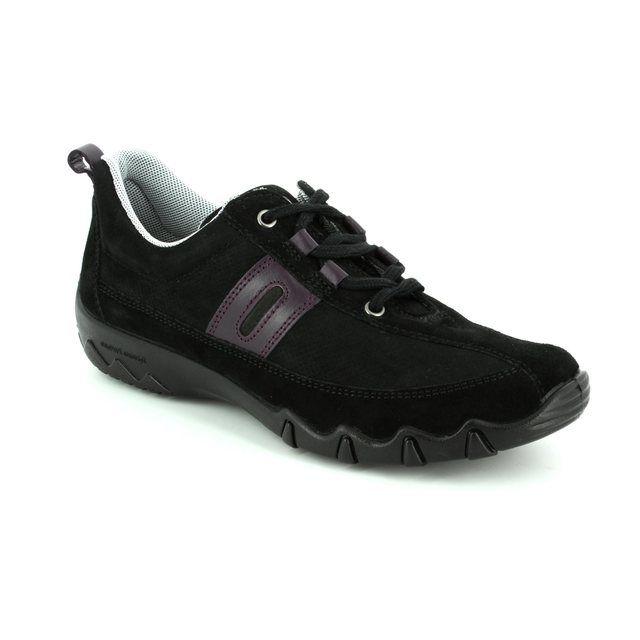 Hotter Lacing Shoes - Black nubuck - 7201/70 LEANNE