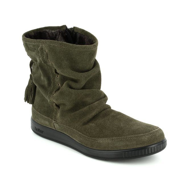 Hotter Ankle Boots - Green Suede - 7204/95 PIXIE