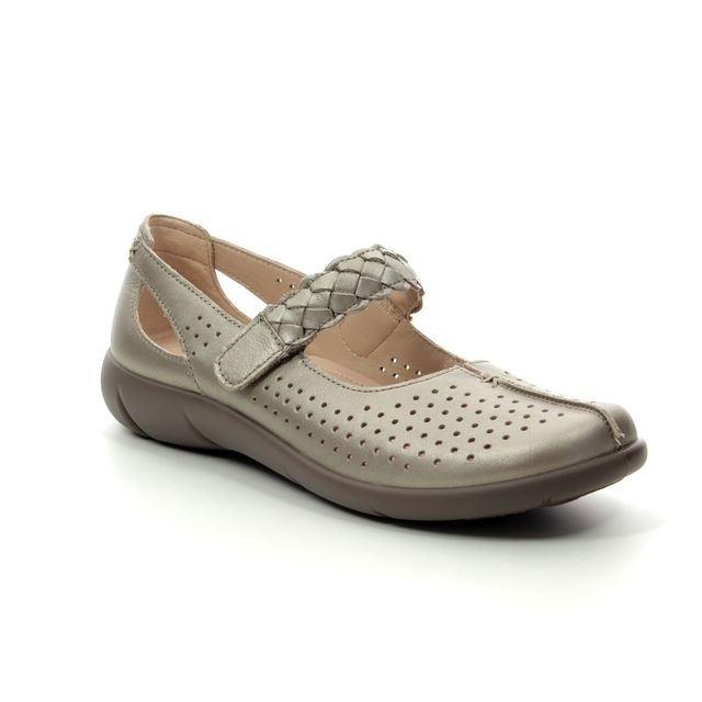 Hotter Mary Jane Shoes - Pewter - 9107/51 QUAKE  E FIT