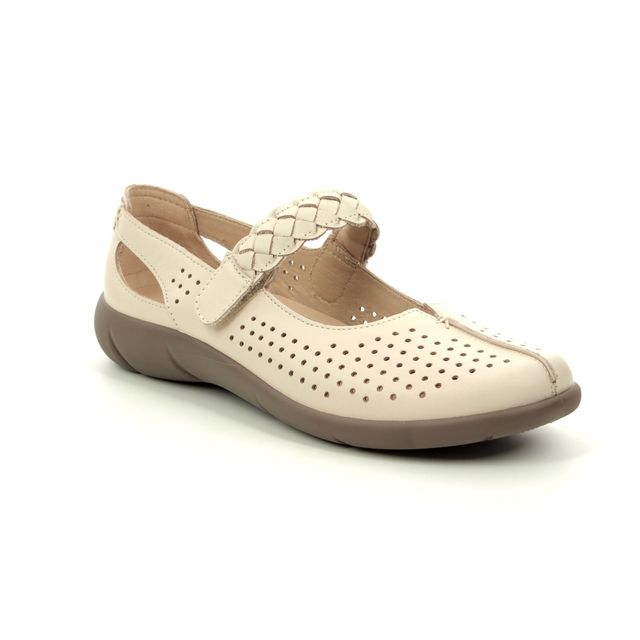 Hotter Mary Jane Shoes - Beige leather - 9107/53 QUAKE  E FIT