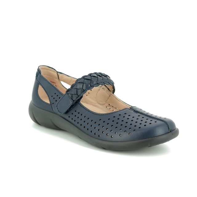 Hotter Mary Jane Shoes - Navy Leather - 9107/70 QUAKE  E FIT