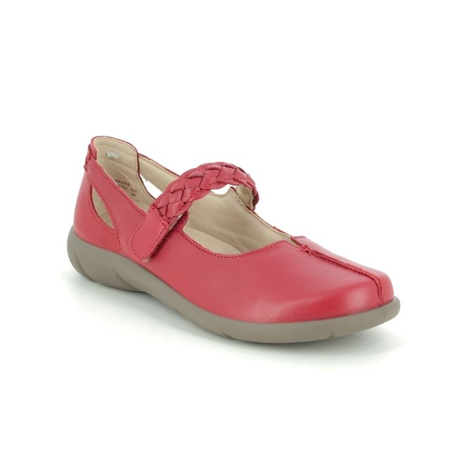 Hotter Shake E Fit 0108-80 Red leather Mary Jane Shoes